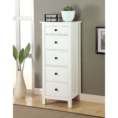 Johannes 5 Drawer Accent Chest Color: White