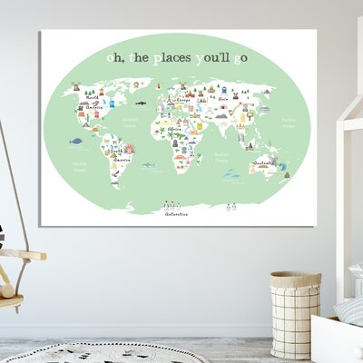"""Tevin Oh the Place You'll Go World Map Canvas Art Size: 18"""" H X 24"""" W X 1"""" D, Color: Green"""