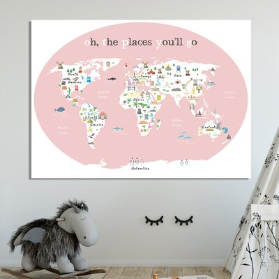 """Tevin Oh the Place You'll Go World Map Canvas Art Size: 24"""" H X 36"""" W X 1"""" D, Color: Pink"""