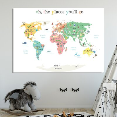 """Tevin Oh the Place You'll Go World Map Canvas Art Size: 24"""" H X 36"""" W X 1"""" D, Color: White"""