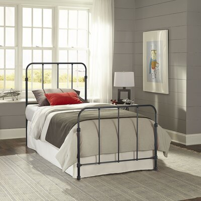 Collin Complete Kids Bed with Metal Duo Panel Color: Space Black, Size: Twin