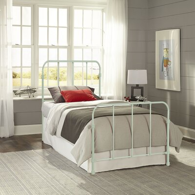 Collin Complete Kids Bed with Metal Duo Panel Color: Mint Green, Size: Twin