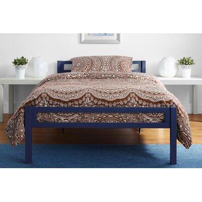 Burrell Metal Twin Platform Bed Color: Blue