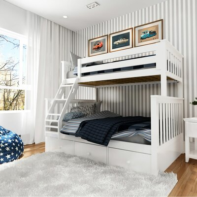 Wardingham Bunk Bed With Storage Drawers Size: Twin Over Twin, Bed Frame Color: White