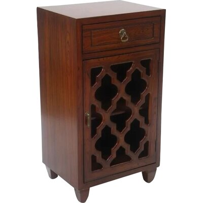 Fairhills 1 Drawer and 1 Door Accent Cabinet with Glass Insert Color: Mahogany