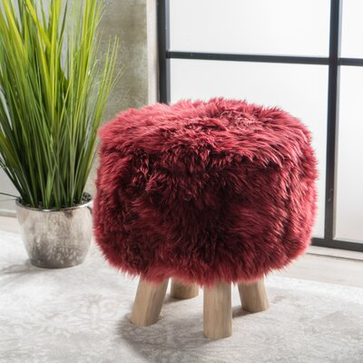 Patmos Sheep Hide Accent Stool Color: Wine
