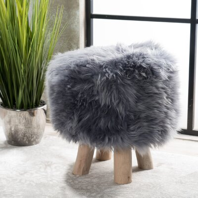 Patmos Sheep Hide Accent Stool Color: Silver