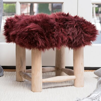 Patmos Sheep Hide Square Vanity Stool Color: Wine