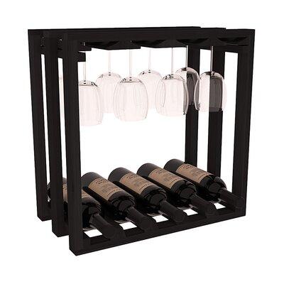 Karnes Redwood Lattice Stemware Cube 10 Bottle Tabletop Wine Rack Finish: Black
