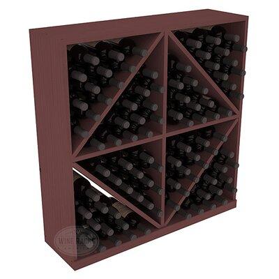 Karnes Pine Diamond Storage 96 Bottle Floor Wine Rack Finish: Walnut