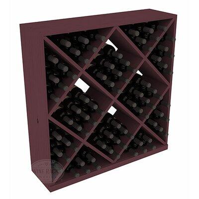 Karnes Pine Diamond Cube 82 Bottle Floor Wine Rack Finish: Burgundy