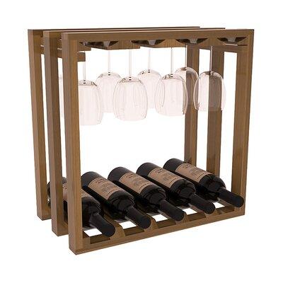 Karnes Redwood Lattice Stemware Cube 10 Bottle Tabletop Wine Rack Finish: Oak Satin