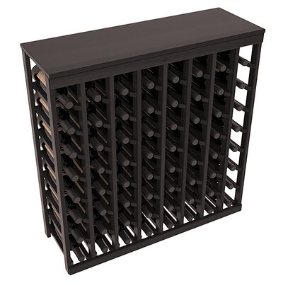 Karnes Redwood Table Top 64 Bottle Floor Wine Rack Finish: Black Satin