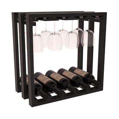 Karnes Redwood Lattice Stemware Cube 10 Bottle Tabletop Wine Rack Finish: Black Satin