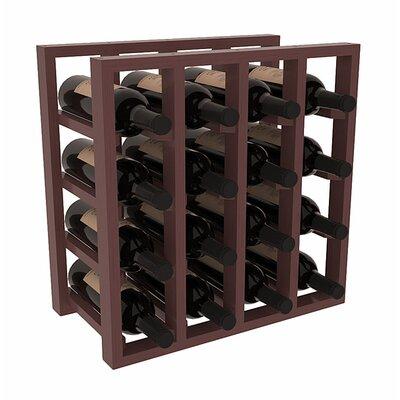 Karnes Pine Lattice 16 Bottle Tabletop Wine Rack Finish: Walnut Satin