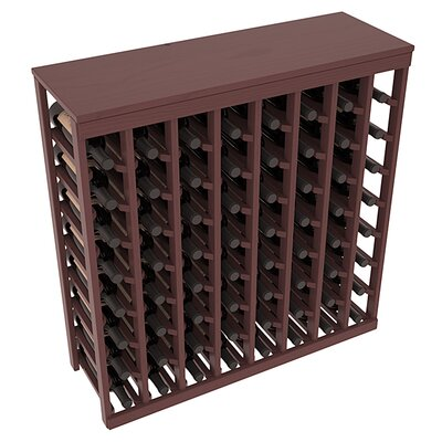 Karnes Pine 64 Bottle Floor Wine Rack Finish: Walnut Satin