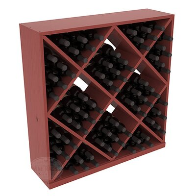 Karnes Pine Diamond Cube 82 Bottle Floor Wine Rack Finish: Cherry Satin
