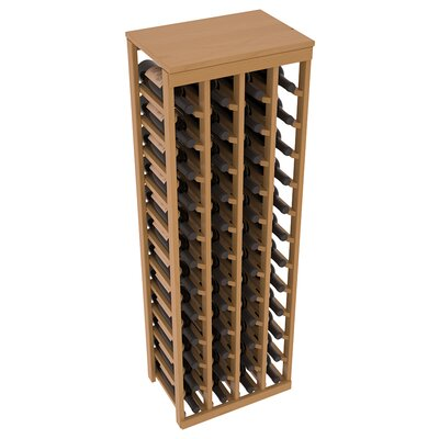 Karnes Pine 48 Bottle Floor Wine Rack Finish: Oak Satin