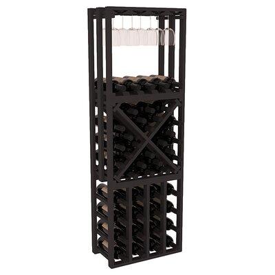 Karnes Pine Lattice Stacking Cube 45 Bottle Floor Wine Rack Finish: Black