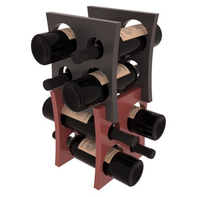 Sutton Pine Contemporary Cube 8 Bottle Tabletop Wine Rack Finish: Black / Cherry