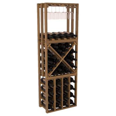 Karnes Redwood Lattice Stacking Cube 45 Bottle Floor Wine Rack Finish: Oak Satin
