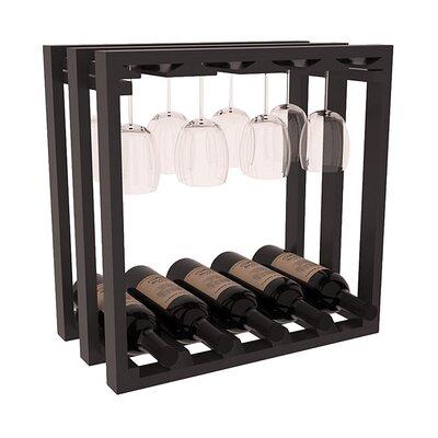 Karnes Pine Lattice Stemware Cube 10 Bottle Tabletop Wine Rack Finish: Black Satin