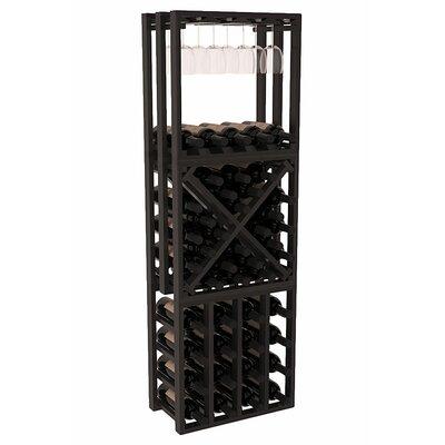 Karnes Redwood Lattice Stacking Cube 45 Bottle Floor Wine Rack Finish: Black Satin