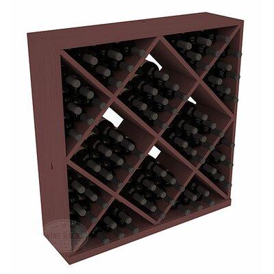 Karnes Pine Diamond Cube 82 Bottle Floor Wine Rack Finish: Walnut