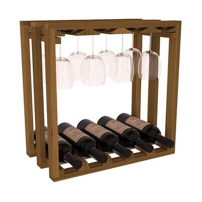 Karnes Redwood Lattice Stemware Cube 10 Bottle Tabletop Wine Rack Finish: Oak