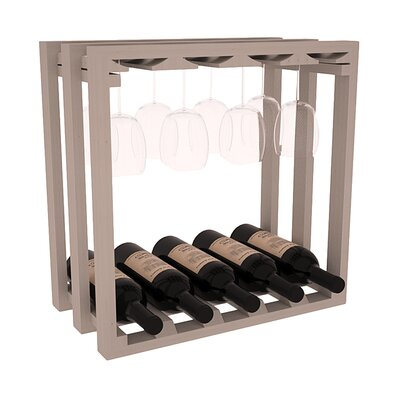 Karnes Pine Lattice Stemware Cube 10 Bottle Tabletop Wine Rack Finish: Gray