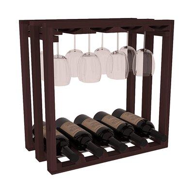 Karnes Redwood Lattice Stemware Cube 10 Bottle Tabletop Wine Rack Finish: Walnut