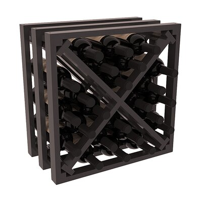 Karnes Pine Lattice X-Cube 24 Bottle Tabletop Wine Rack Finish: Black Satin