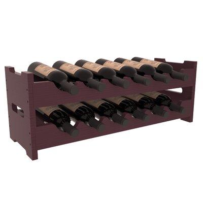 Karnes Pine Mini Scalloped 12 Bottle Tabletop Wine Rack Finish: Burgundy Satin
