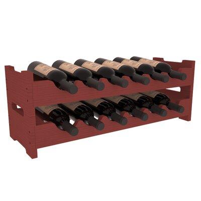 Karnes Pine Mini Scalloped 12 Bottle Tabletop Wine Rack Finish: Cherry