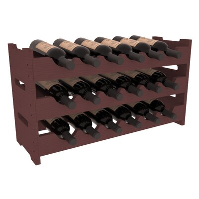 Karnes Pine Mini Scalloped 18 Bottle Tabletop Wine Rack Finish: Walnut
