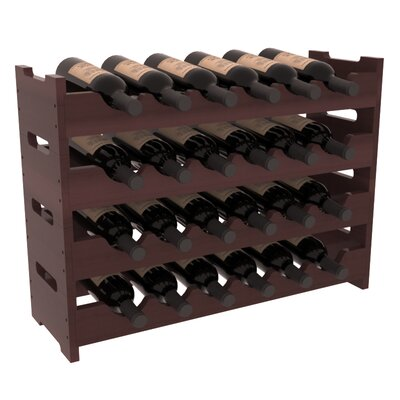 Karnes Redwood Mini Scalloped 24 Bottle Tabletop Wine Rack Finish: Walnut Satin