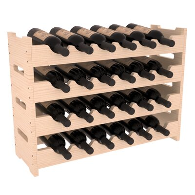 Karnes Pine Mini Scalloped 24 Bottle Tabletop Wine Rack Finish: Natural Satin