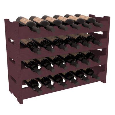 Karnes Pine Mini Scalloped 24 Bottle Tabletop Wine Rack Finish: Burgundy