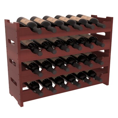 Karnes Redwood Mini Scalloped 24 Bottle Tabletop Wine Rack Finish: Cherry Satin