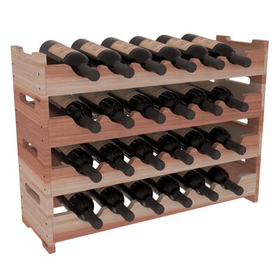 Karnes Redwood Mini Scalloped 24 Bottle Tabletop Wine Rack Finish: Natural