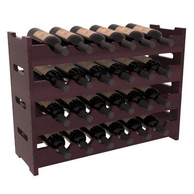Karnes Redwood Mini Scalloped 24 Bottle Tabletop Wine Rack Finish: Burgundy Satin