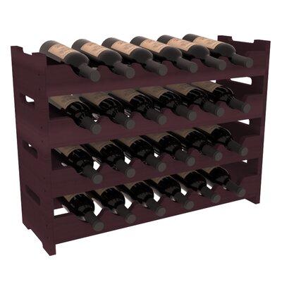 Karnes Redwood Mini Scalloped 24 Bottle Tabletop Wine Rack Finish: Burgundy