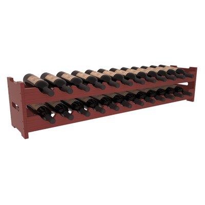 Karnes Pine Scalloped 24 Bottle Tabletop Wine Rack Finish: Cherry Satin
