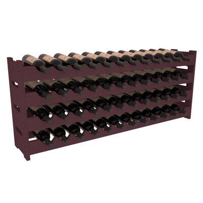 Karnes Pine Scalloped 48 Bottle Tabletop Wine Rack Finish: Burgundy