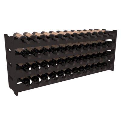 Karnes Pine Scalloped 48 Bottle Tabletop Wine Rack Finish: Black