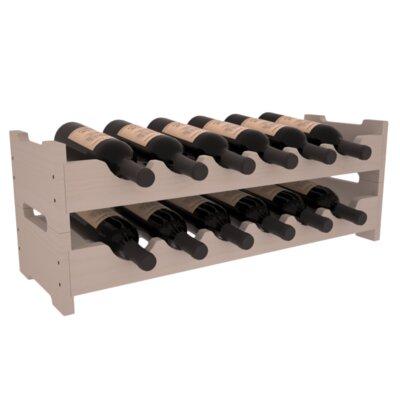 Karnes Pine Mini Scalloped 12 Bottle Tabletop Wine Rack Finish: Gray