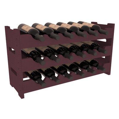 Karnes Pine Mini Scalloped 18 Bottle Tabletop Wine Rack Finish: Burgundy