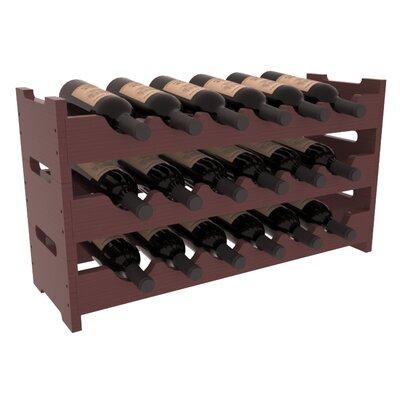 Karnes Pine Mini Scalloped 18 Bottle Tabletop Wine Rack Finish: Walnut Satin