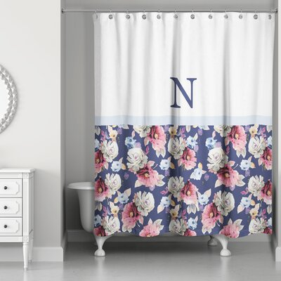 Arquette Floral Monogrammed Shower Curtain Letter: N