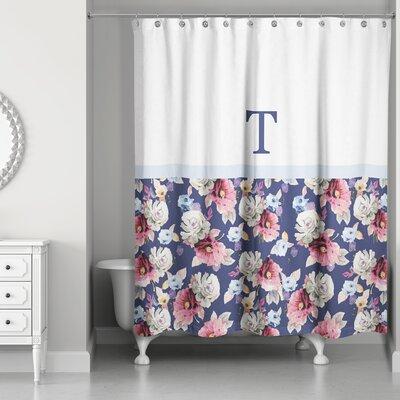 Arquette Floral Monogrammed Shower Curtain Letter: T
